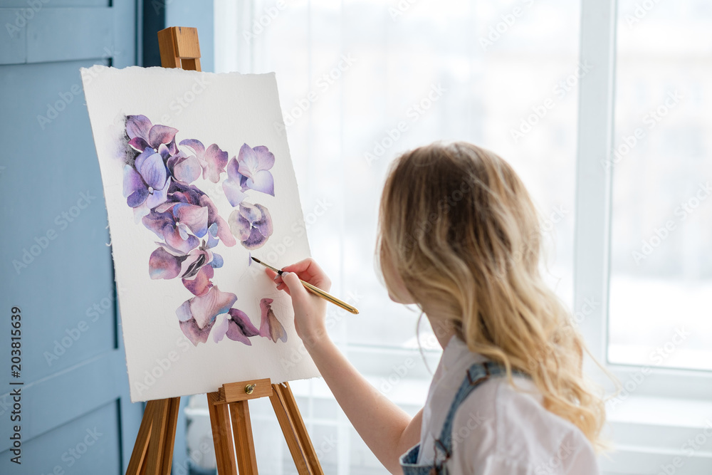 Fototapety, obrazy: artist lifestyle. painting hobby. woman drawing beautiful watercolor floral design