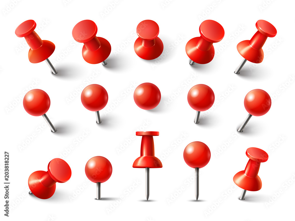 Fototapety, obrazy: Red pushpin top view. Thumbtack for note attach collection. Realistic 3d push pins pinned in different angles vector set