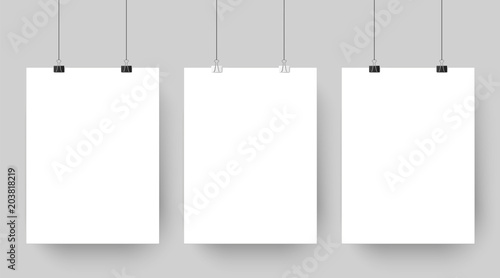 Obraz Empty affiche mockup hanging on paper clips. White blank advertising poster template casts shadow on gray background vector illustration - fototapety do salonu