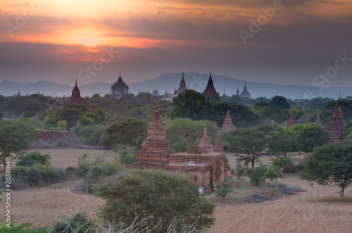 Bagan historic site during the sunrise, Myanmar Poster
