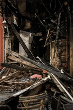 Burnt Down Building With Wood Beams Destroyed