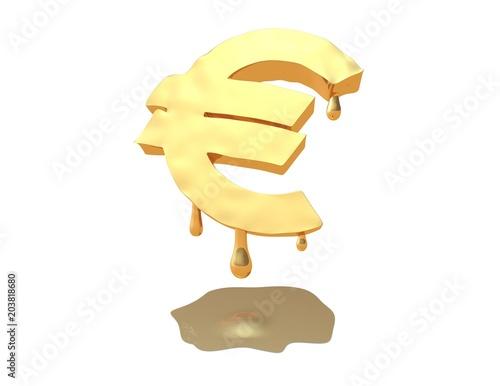 Euro Money Symbol Melting Eurozone Ue Europe Financial Crisis