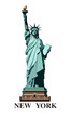 Statue of Liberty USA. New York is a landmark. The best sets of presentation templates.Bronze sculpture.Green logo on a white background. postcard and flyer,American symbol Vector illustration EPS 10