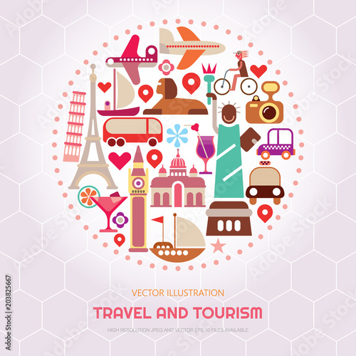 Foto op Canvas Abstractie Art Travel and Tourism vector illustration