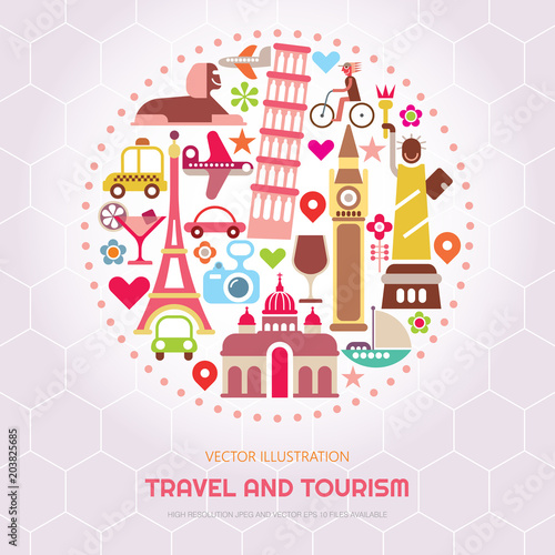 In de dag Abstractie Art Travel and Tourism vector illustration
