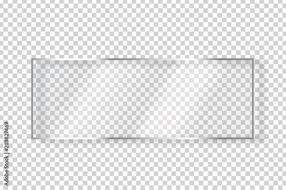 Fototapety, obrazy: Vector realistic isolated glass rectangle billboard for decoration and covering on the transparent background.