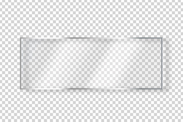 Fototapeta Vector realistic isolated glass rectangle billboard for decoration and covering on the transparent background.