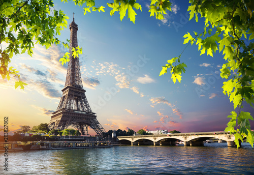 Poster Paris Eiffel Tower and bridge
