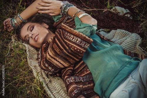 Poster Gypsy hippie lying girl