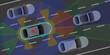 adi63 AutonomousDrivingIllustration - light detection and ranging (lidar) - red - laser / radar blue / camera green / ultrasonic orange - fully autonomous driving - xxl 2to1 g6095