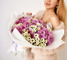 Beautiful Woman Hold Bouquet O...