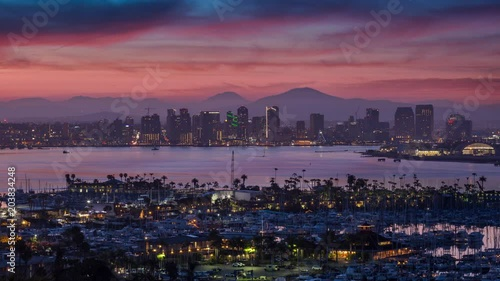Downtown San Diego Skyline Skyfire Sunrise Timelapse Canvas Print