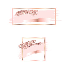 Brush Strokes In Gentle Pink Tones.Gentle Pastel Colors.Rose Gold Frame Circle And Hexagonal Frame .Abstract Vector Background.Pink Sparkle Glossy Scribble, Grunge Or Smudge. Glam Style Cosmetic.