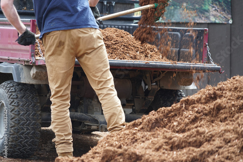 Cadres-photo bureau Gris traffic close up on outdoor worker working on adding mulch in the garden