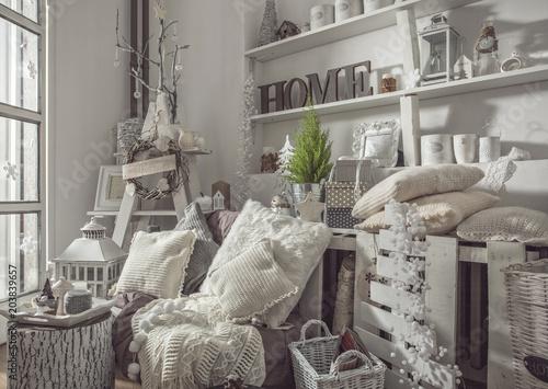 Fotografia, Obraz  Interior decoration in white shabby look