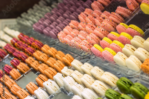 In de dag Macarons French desert, fresh colorful macarons in the bakery