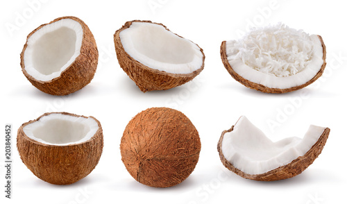 Fotografía  Coconuts isolated on white background. Collection.