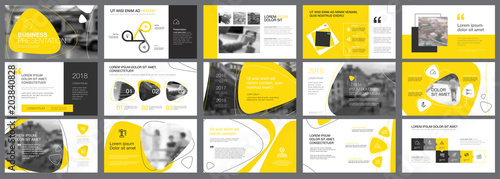Yellow and black logistics or management concept infographic set Canvas Print