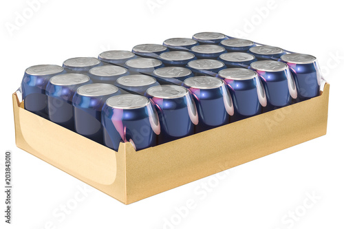Valokuvatapetti Package of metallic drink cans in shrink film, 3D rendering