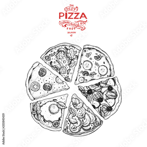 Papiers peints Restaurant Italian Pizza hand drawn vector illustration. Pizza slices in a circle. Packaging design template. Sketch illustration.