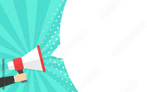 Fotografía  Speech bubbles announced by megaphone,flat vector illustration background