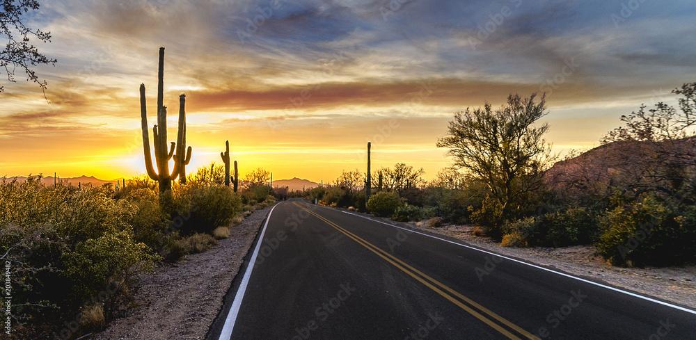 Fototapeta Arizona Desert Sunset Road