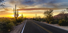 Arizona Desert Sunset Road
