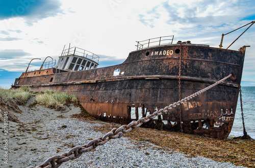 Old Shipwreck on the Magellan Straits, Chile Wallpaper Mural