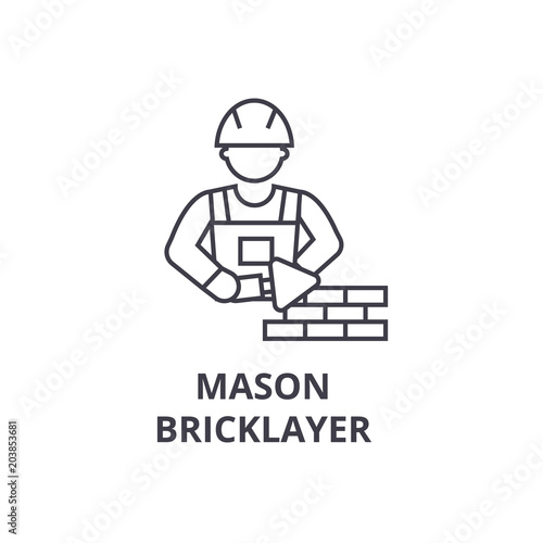Fotomural  mason bricklayer vector line icon, sign, illustration on white background, edita