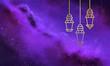 Leinwanddruck Bild - Ramadan decorative lights on colorful background