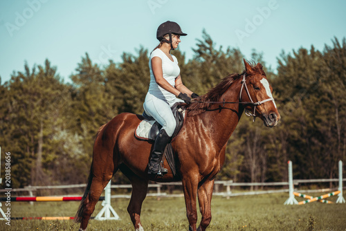 Poster Equitation A woman jockey participates in competitions in equestrian sport, jumping.