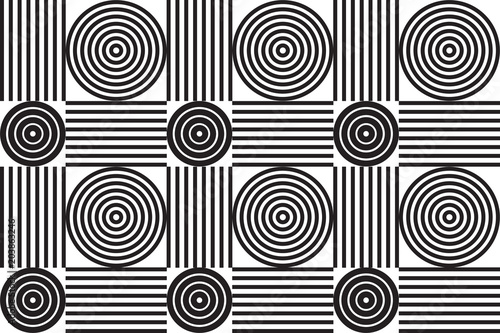 Valokuva  Grayscale geometric seamless background pattern with concentric circles and parallel lines