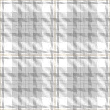 Tartan Seamless Pattern Background In Pastel Grey, Dusty Beige And White  Color  Plaid.