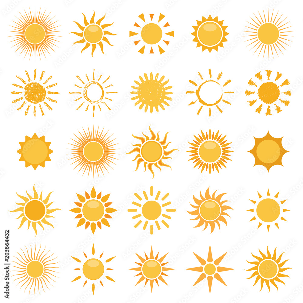 Fototapety, obrazy: vector collection of sun icons on white background