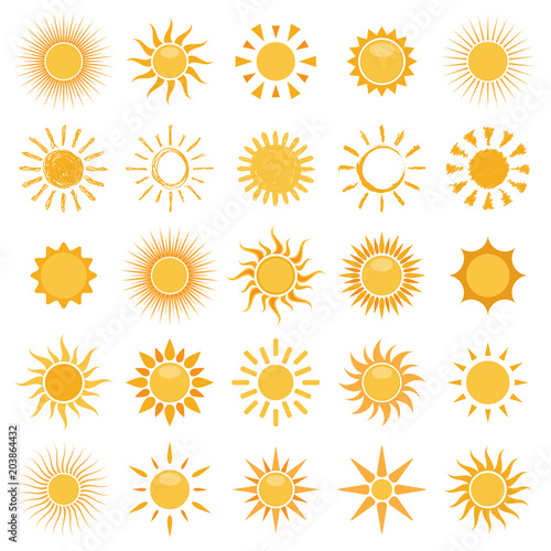 vector collection of sun icons on white background Fototapete