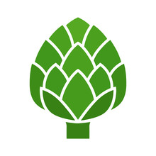 Green Globe Artichoke Thistle Flower Bud Flat Vector Icon For Food Apps And Websites