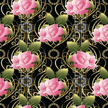 Pink Roses Vector Seamless Pat...