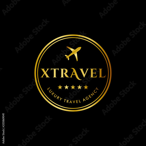 Amazing Luxury Travel Agency Logo Template In Stamp Style. Premium Royal Logo  Template Vector Icon