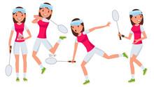 Badminton Female Player Vector...
