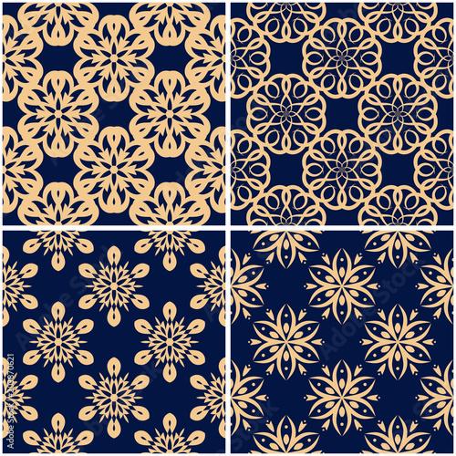In de dag Kunstmatig Floral patterns. Set of golden blue seamless backgrounds
