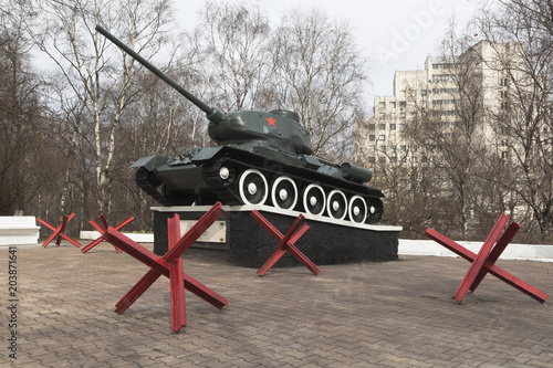 Poster  Military memorial with T-34 tank in Vologda, Russia