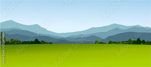 In de dag Lime groen Rural landscape with green fields
