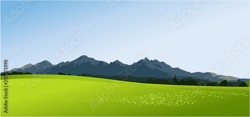 Tuinposter Lime groen Rural landscape with green fields