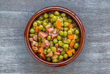 Peas With Ham In A Clay Pot On...