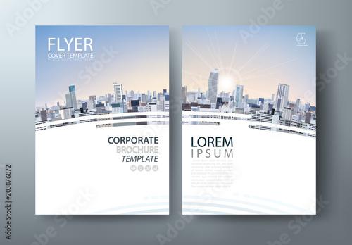 Fototapeta Flyer design, City landscape image. Leaflet cover presentation, book cover template vector, layout in A4 size.  obraz
