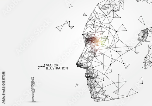 Photo  Man-machine interaction concept, vector illustration.