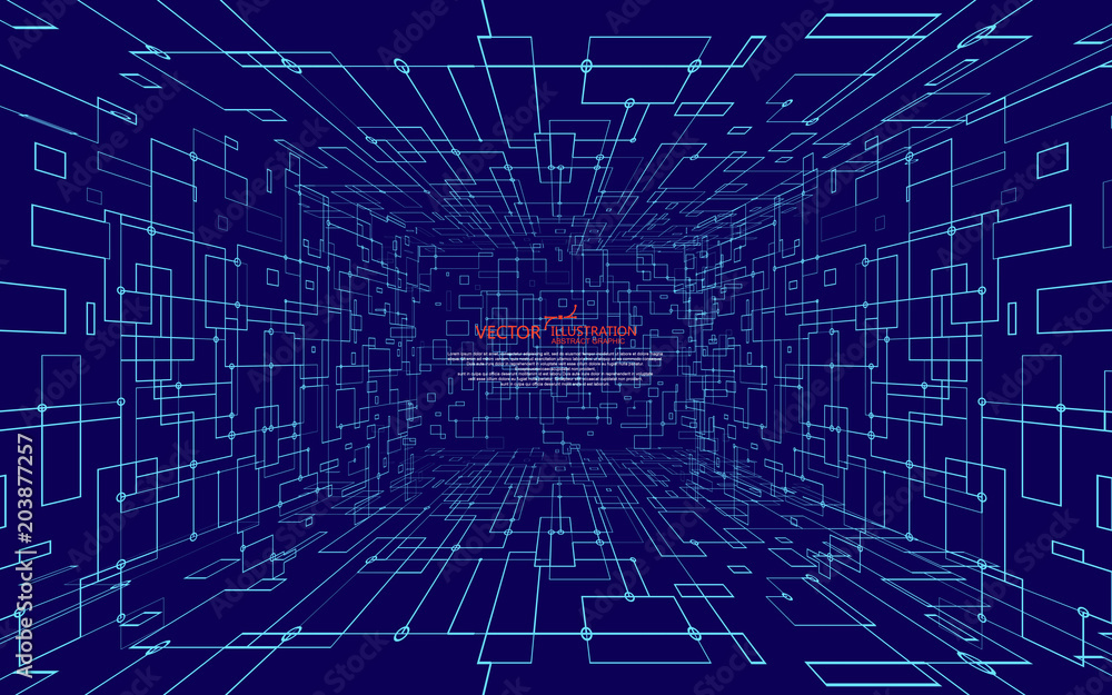 Fototapeta The abstract figure of the lines, the design of the virtual space.