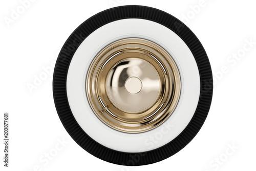 Fotografie, Obraz  Wheel Nickel plated retro. 3D render