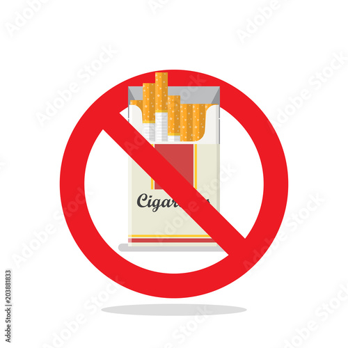 Foto op Aluminium Pixel Cigarettes pack prohibition sign