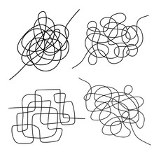 Set Of Hand Drawn Tangle Scrawl Sketch. Black Line Abstract Scribble Shape. Vector Tangled Chaotic Doodle Circle And Square  Scribble Drawing. Thread Clew Knot Isolated On White Background.